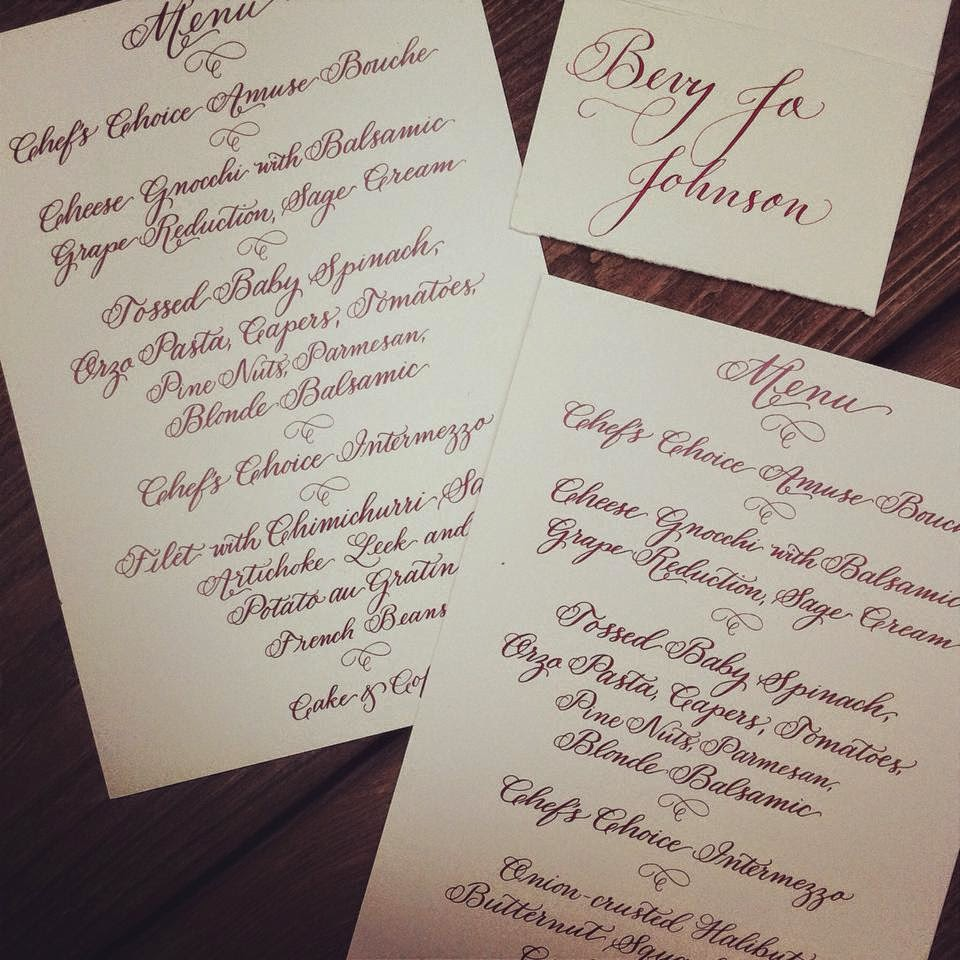 wedding calligraphy menu escort cards