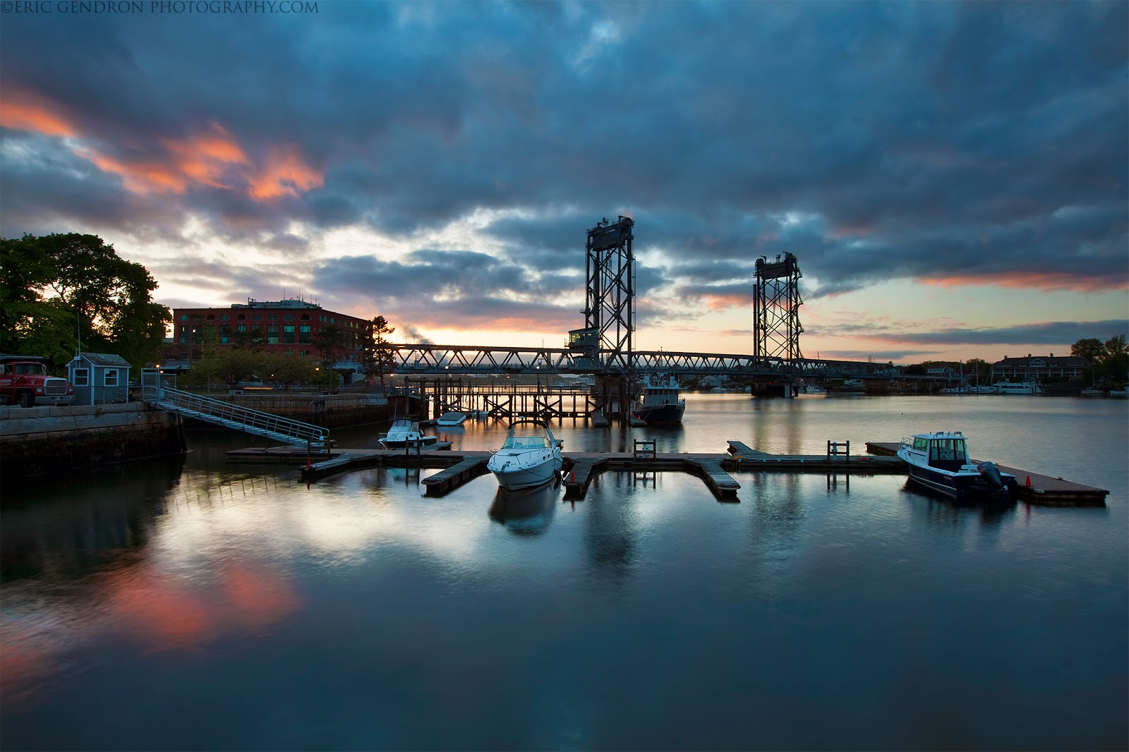 memorial bridge sunset in portsmouth harbor nh