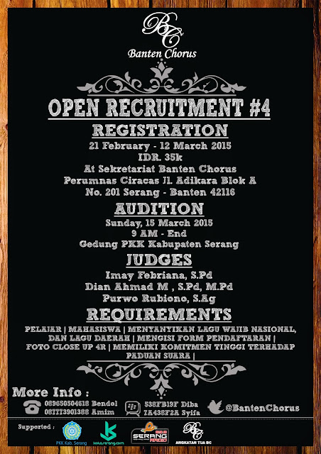 Poster Open Recruitment BANTEN CHORUS OPEN RECRUITMENT #4