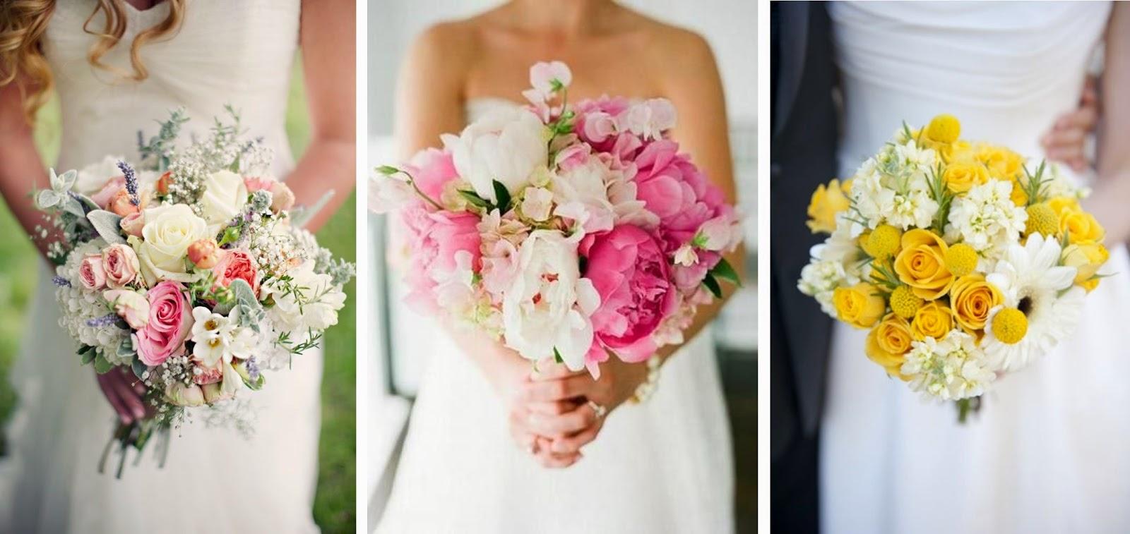 sélection bouquets de mariée de couleur fuschia violet rose jaune moodboard inspiration