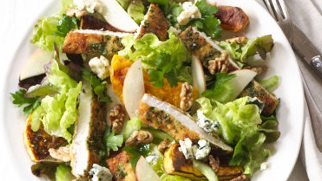 at this delicous warm chicken schnitzel salad with pink lady apples ...