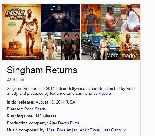 Singham Returns 2014 Full Hindi Movie Watch Online