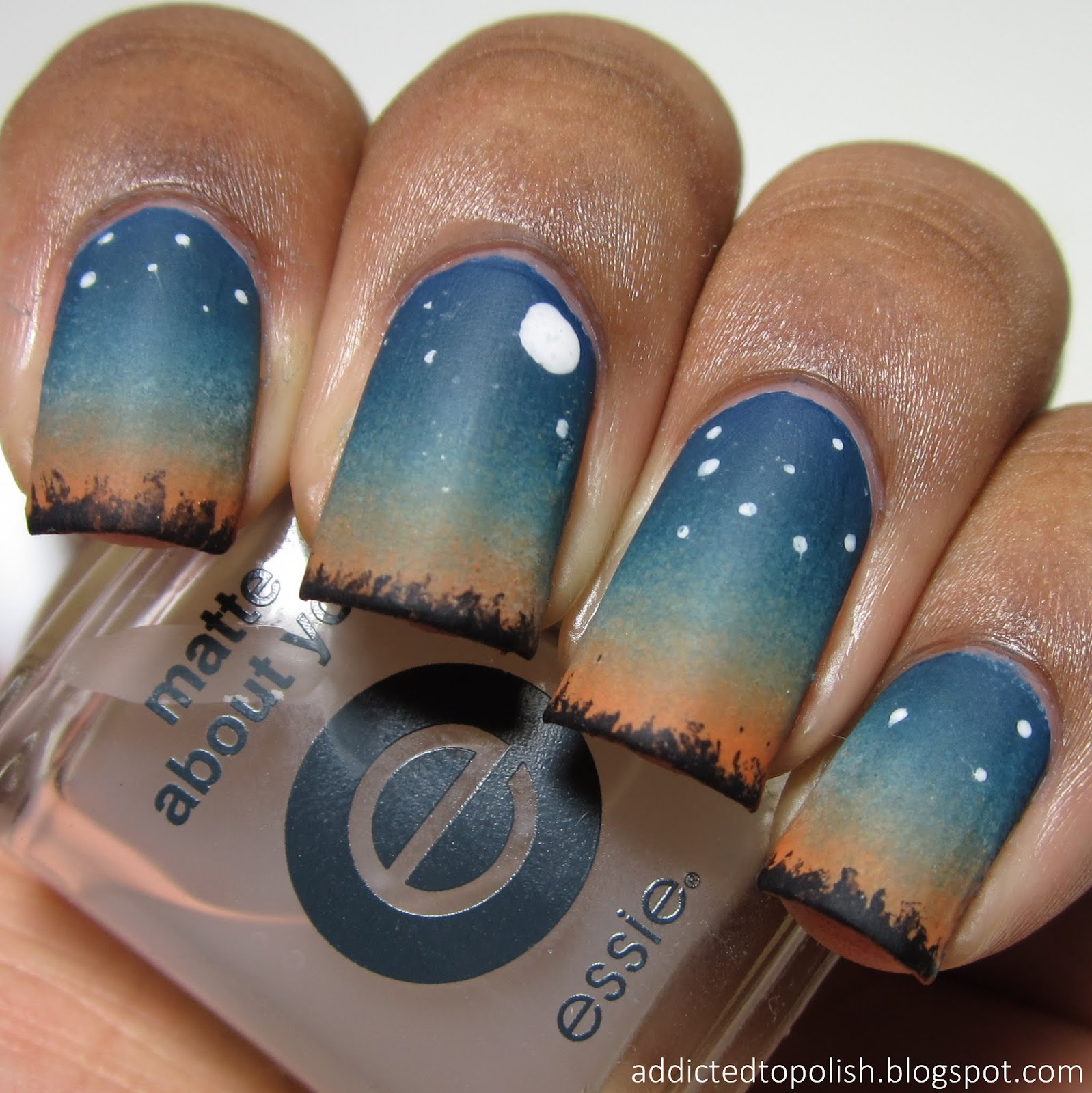 Addicted To Polish Lets Go Camping Under The Stars Nail Art