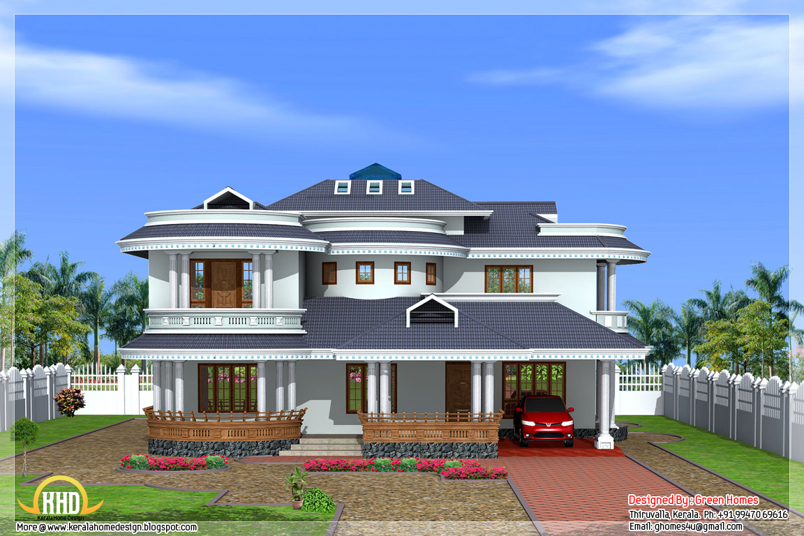 Beautiful 4 bedroom kerala home exterior indian house plans for Beautiful home exteriors