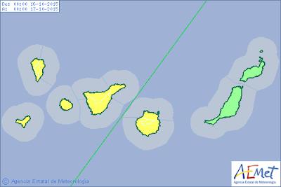 aviso amarillo por lluvias Canarias 15 - 16 octubre