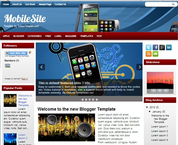 Free download blogger template mobile site template for Mobile site template free download