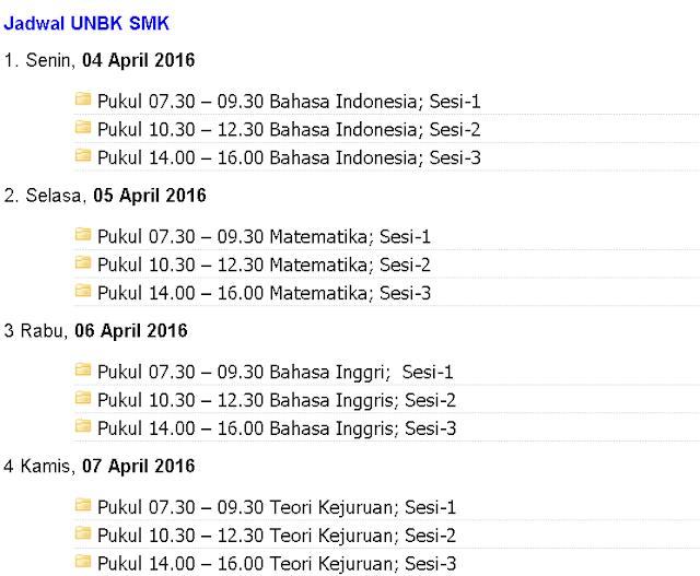 jadwal Ujian Nasional Berbasis Komputer UNBK 2016