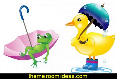 Duck with Umbrella in Rain Peel and Stick Wall Decals Frog and Umbrella Peel and Stick Wall Decals