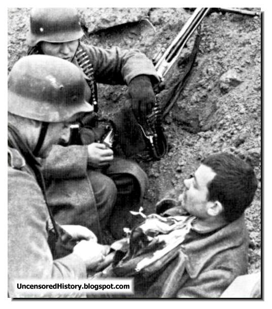 Germans interrogate soviet soldier