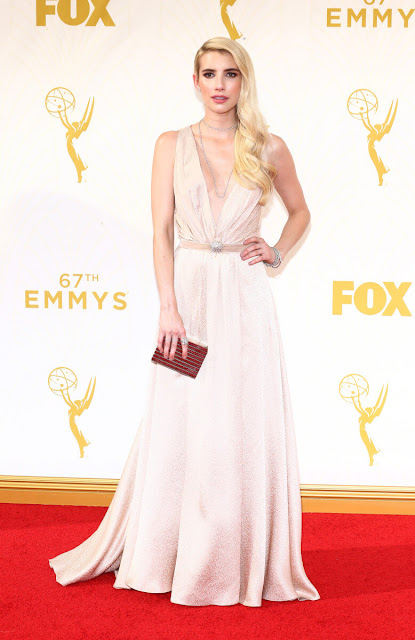 Emma Roberts wearing Martin Katz Jewellery to the Emmy Awards 2015