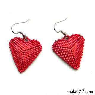 купить подарок в виде сердца, серьги сердечки из бисера анабель