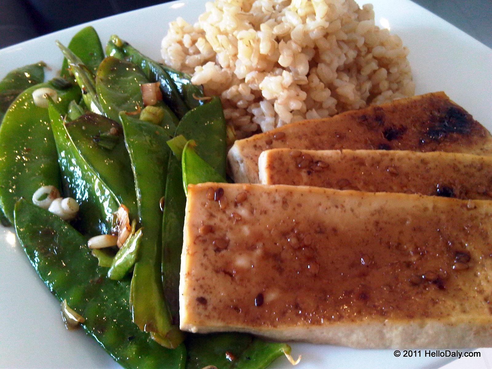 and snow pea crispy tofu with roasted coconut curried pork snow pea ...