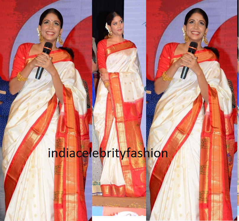 Lavanya Tripathi in Traditional Saree at Lacchimdeviki O Lekkundi Audio Launch