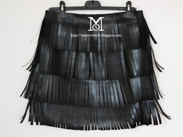 skirt diy, fashion diy, leather fringe skirt diy