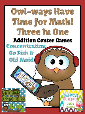 Fern Smith's FREE Addition Owl-ways Have Time for Math! at Classroom Center Games