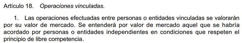 operaciones vinculadas Ley 27/2014 Impuesto sobre Sociedades