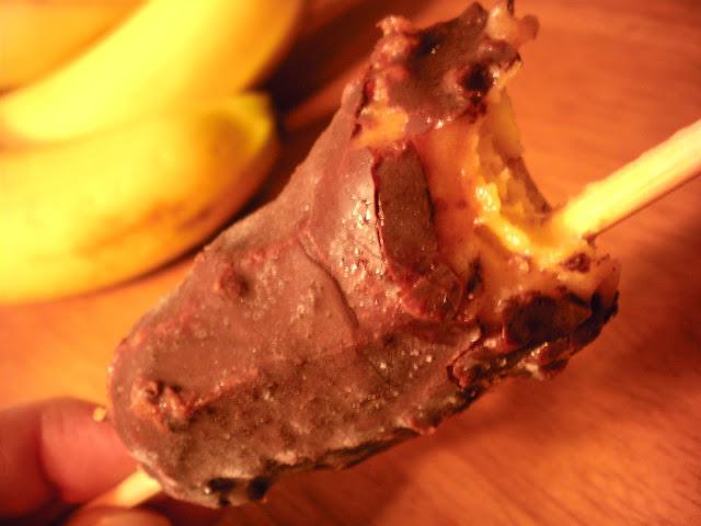 Chocolate covered caramel banana