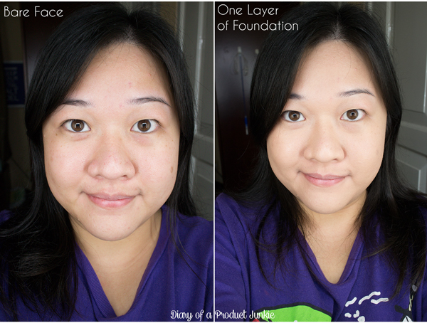 Comparison photo of bless healthy glow foundation