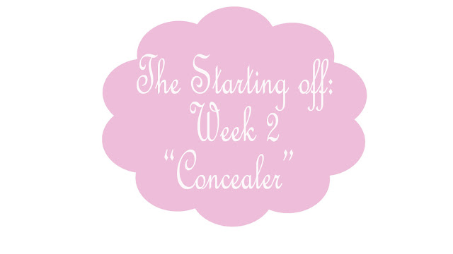 Pink background and white logo for the Starting Off week 2 concealer