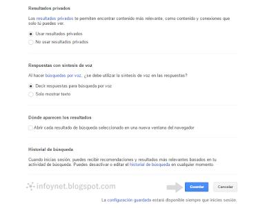 Ajustes de búsqueda de Google: resultados privados, búsquedas por voz e historial de búsqueda