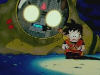 Gohan e o Sr. robô no deserto