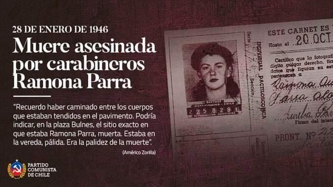 MUERE ASESINADA POR CARABINEROS RAMONA PARRA. 28 DE ENERO DE 1946