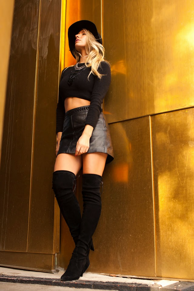 Thigh high boots, leather mini, crop tops, golden girl, target floppy hat