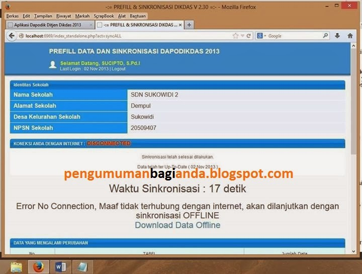 Download data sinkronissi offline tersebut, dan hasil download