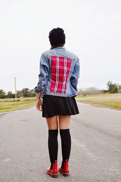 outfit, glam rock, grunge, fashion blogger argentina, knee highs, diy, denim jacket