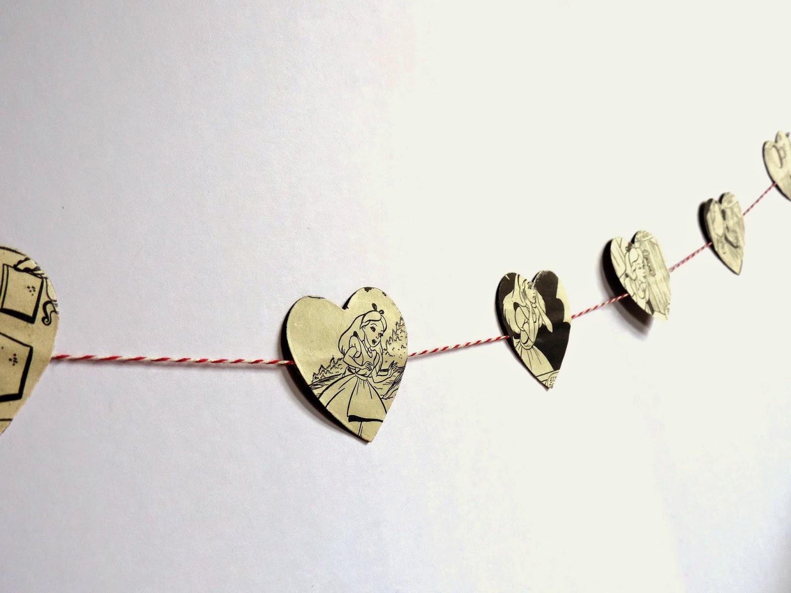 Guirlande coeur en papier DIY