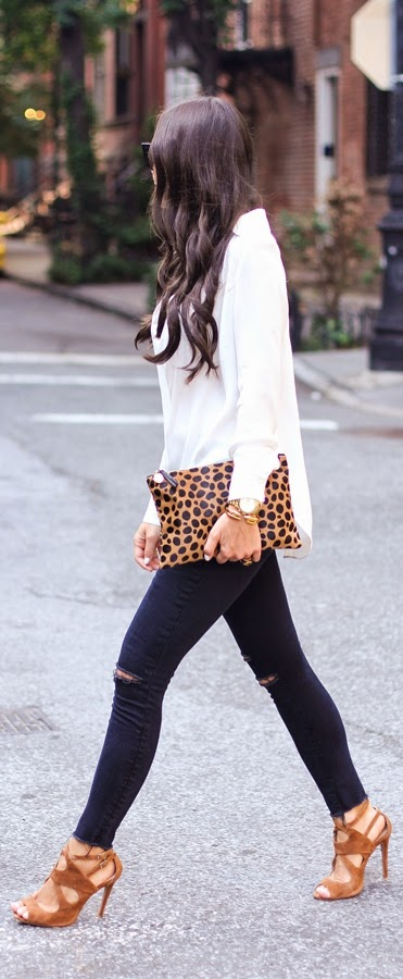 Classic White Blouse with Ripped Skinnies Jeans and Lepord Clutch | Street Outfits