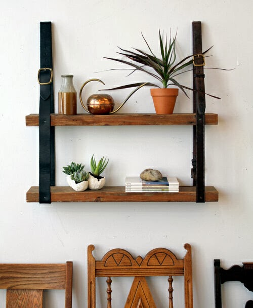 Recycled Belts and Wood Shelves from DESIGN SPONGE