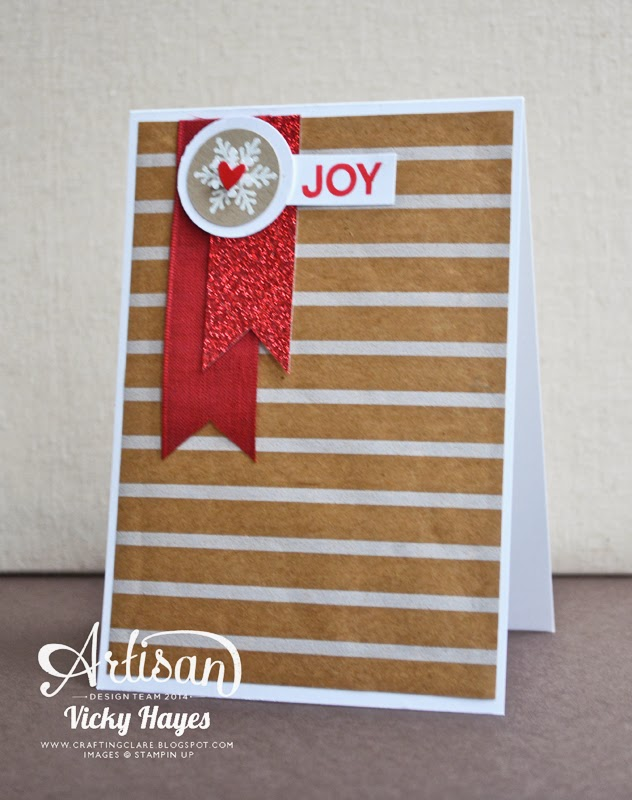Try a gingerbread Christmas colour combination, red kraft and white