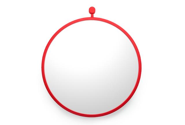 Красное большое силиконовое зеркало для ванной комнаты
