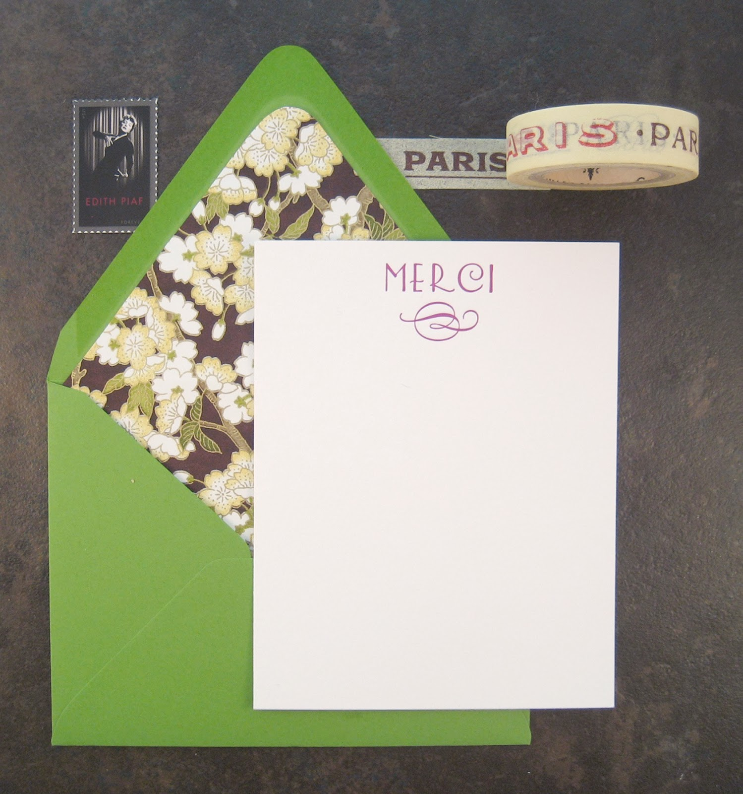 "Pretty thank you note card, letterpress printed ""merci"" with flourish, with floral lined envelope and Paris washi tape for decoration."