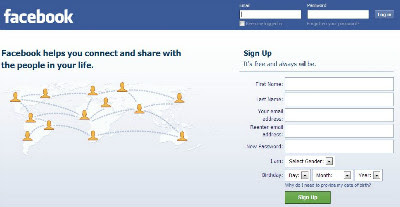 facebook log-in page