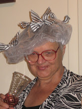 Mom with her new Mackenzie-Childs shower cap