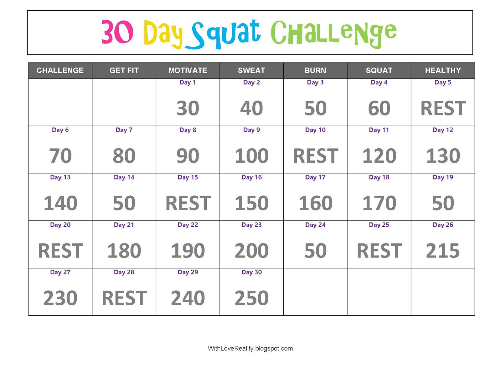 image relating to 30 Day Squat Challenge Printable referred to as 30 Working day Squat Difficulty Pdf