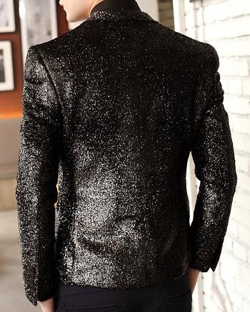 Back of Mens Black shimmering blazer