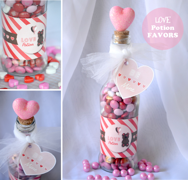 Valentine 39 s day diy love potion party favor party ideas for Valentine candy crafts ideas