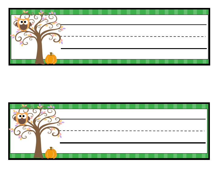 Learning with a Happy Heart: Free Fall Themed Owl Name Tags