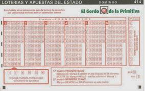 Detalle de un boleto de El Gordo de la Primitiva