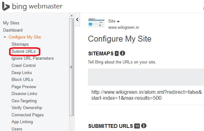 Bing URL Submission Screen