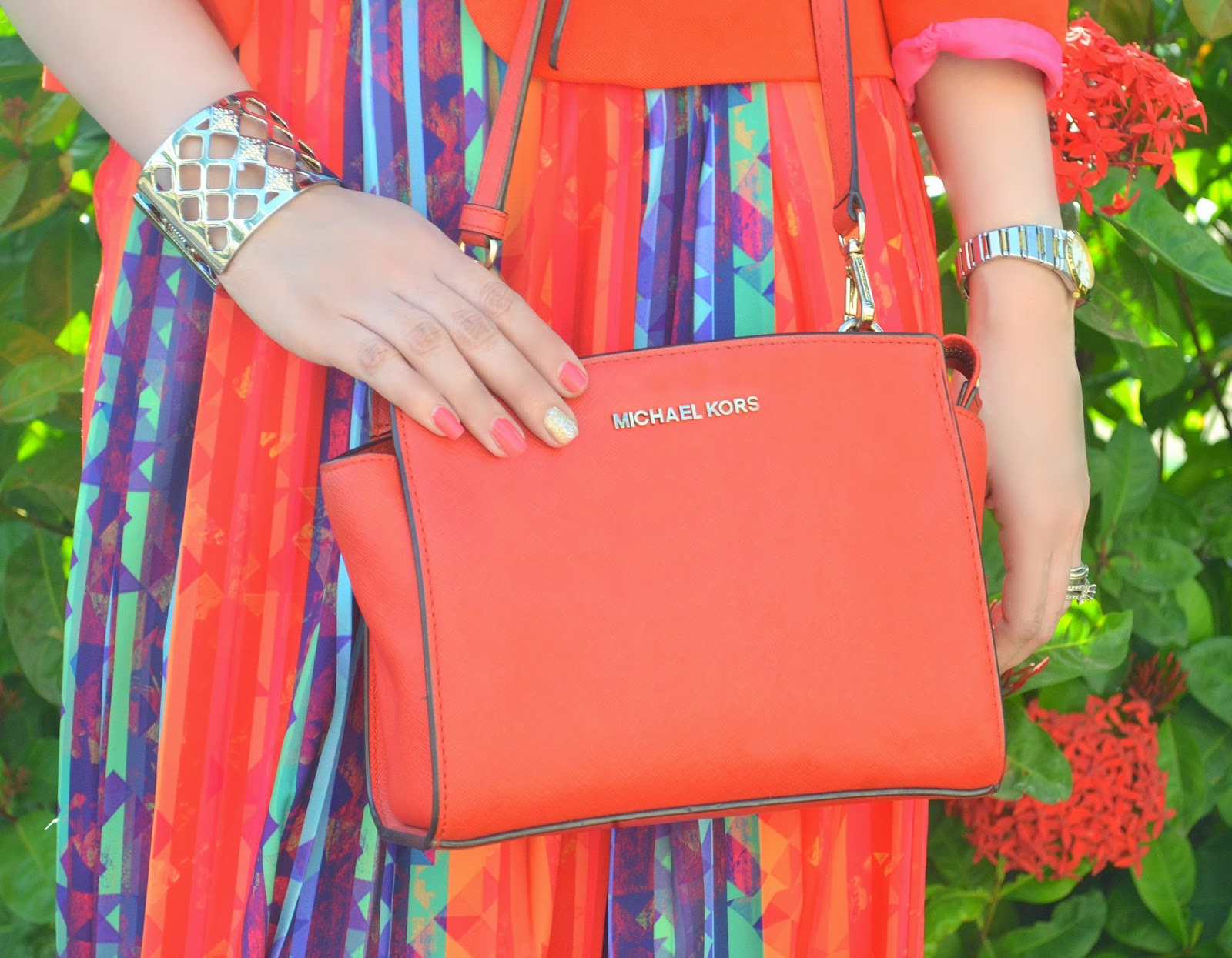 Michael Kors orange cross-body bag