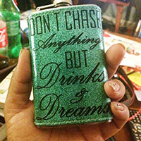 flask, quotes, bedazzled flask
