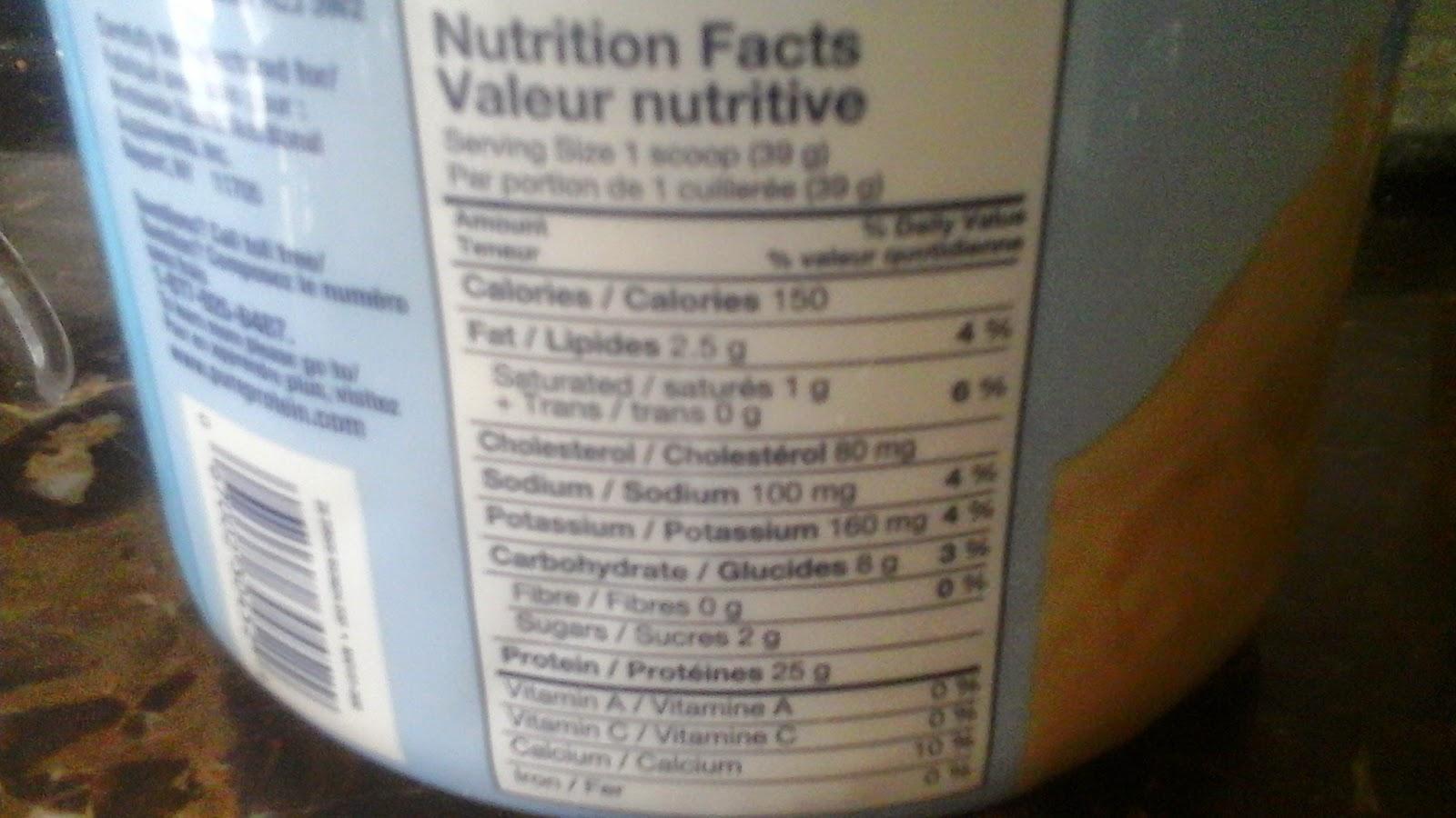 Protein Powder Nutrition Facrs