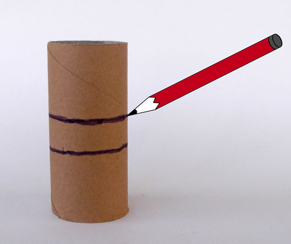 toiler paper roll, pencil