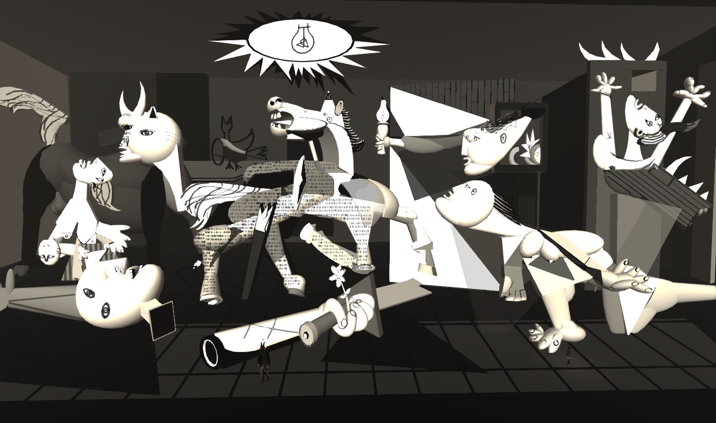 Quan 39 s travelogues 2d art in virtual interpretation for Mural guernica