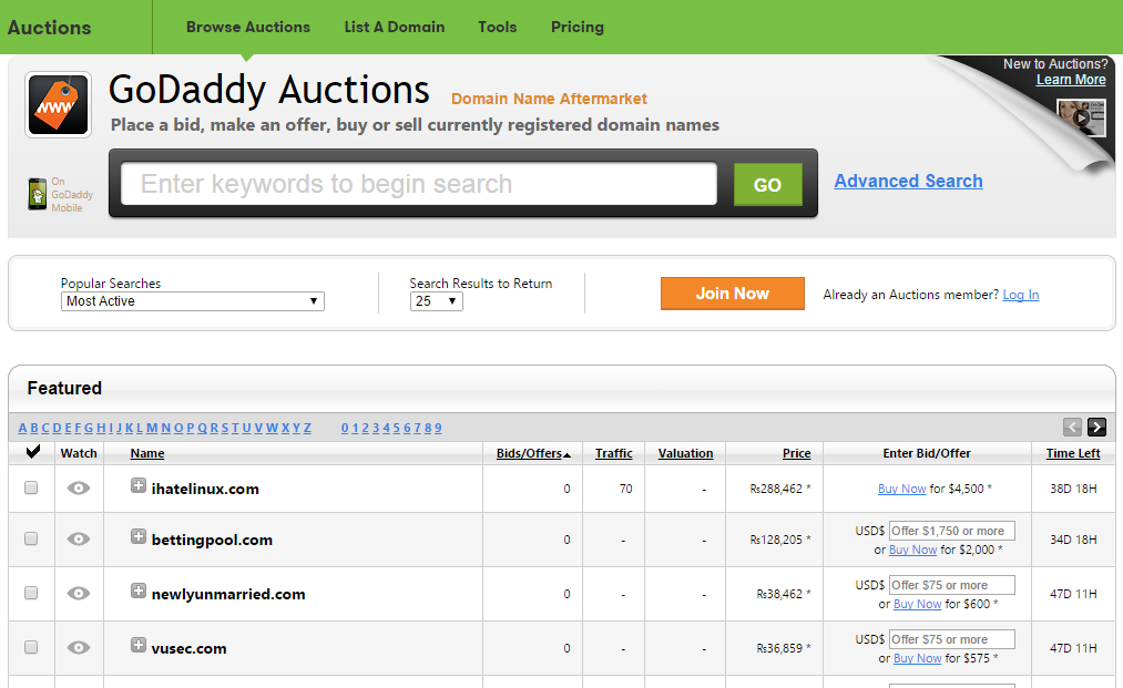 godaddy auctions buy expired domains 2015