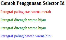 contoh penggunaan selector class pada css